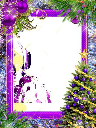 Marco Para Foto Árbol De Año Nuevo Con Decoraciones Violetas - Marco Para Foto Árbol De Año Nuevo Con Decoraciones Violetas