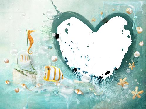 Marco Para Foto Corazón Bajo El Agua Con Los Peces Más Bellos - Marco Para Foto Corazón Bajo El Agua Con Los Peces Más Bellos