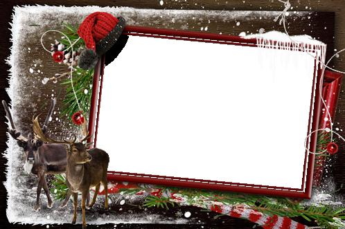 Marco Para Foto Esperando A Papá Noel En El Frío Bosque De Invierno - Marco Para Foto Esperando A Papá Noel En El Frío Bosque De Invierno