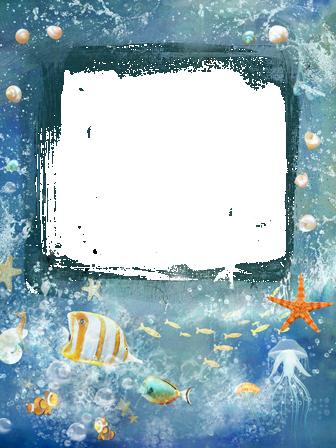 Marco Para Foto Estrella De Mar Y Pescado De Mar - Marco Para Foto Estrella De Mar Y Pescado De Mar
