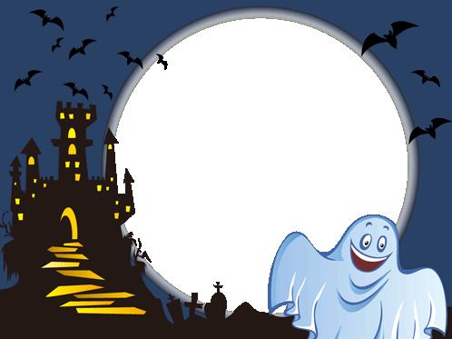 Marco Para Foto Fantasma De Halloween Sonriente - Marco Para Foto Fantasma De Halloween Sonriente