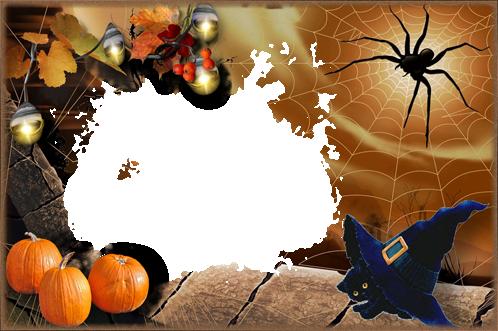 Marco Para Foto Halloween Con Gatito Negro - Marco Para Foto Halloween Con Gatito Negro