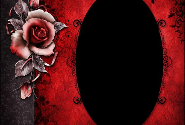 marco para fotos de rosa roja y negra 600x405 - Marco para fotos de rosa roja y negra