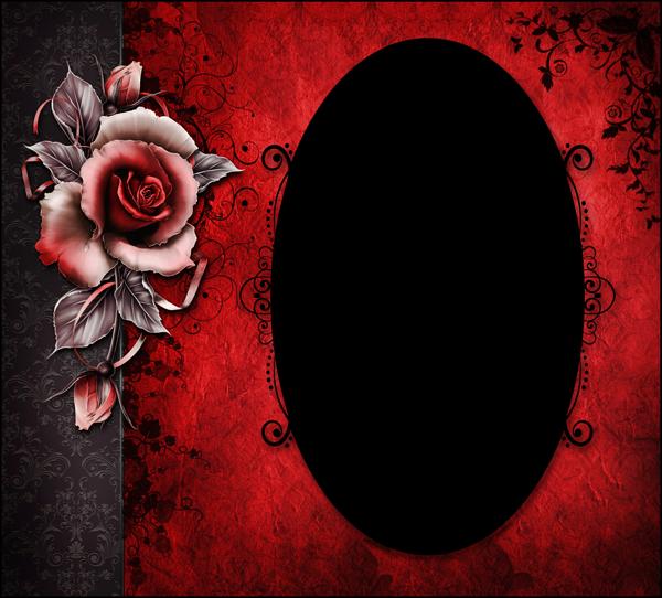 marco para fotos de rosa roja y negra - Marco para fotos de rosa roja y negra