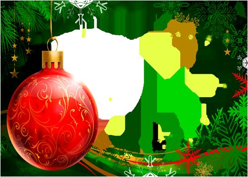 Marco Para Foto Bola Navidad Roja Con Marco Verde Hermoso Año Nuevo - Marco Para Foto Bola Navidad Roja Con Marco Verde Hermoso Año Nuevo
