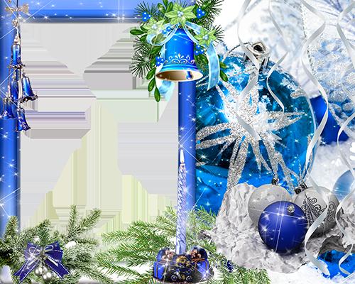 Marco Para Foto Campanas Azules Y Bola Azul Colgando En La Víspera De Año Nuevo - Marco Para Foto Campanas Azules Y Bola Azul Colgando En La Víspera De Año Nuevo