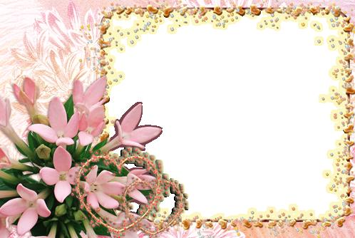 Marco Para Foto Corazones De Flores Románticas - Marco Para Foto Corazones De Flores Románticas