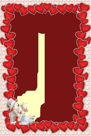 Marco Para Foto Delgados Corazones Rojos Para El Día De San Valentín - Marco Para Foto Delgados Corazones Rojos Para El Día De San Valentín