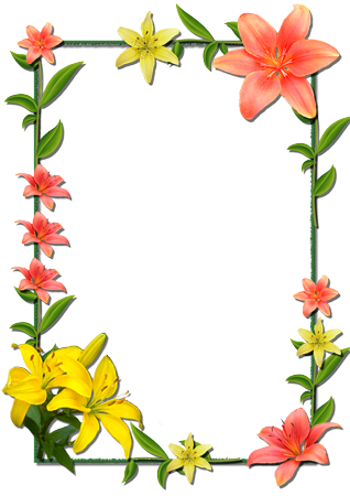 Marco Para Foto Flores Lilas Rojas Y Amarillas - Marco Para Foto Flores Lilas Rojas Y Amarillas