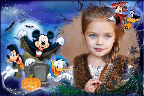 Marco Para Foto Halloween Con Mickey Y Sus Amigos