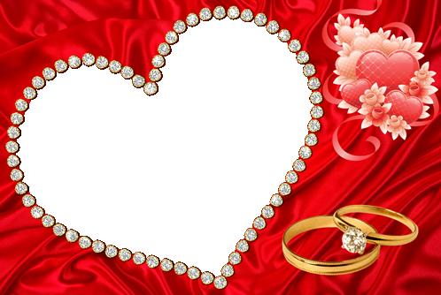 Marco Para Foto Hermoso Corazón Rojo Y Anillo De Bodas De Diamantes - Marco Para Foto Hermoso Corazón Rojo Y Anillo De Bodas De Diamantes