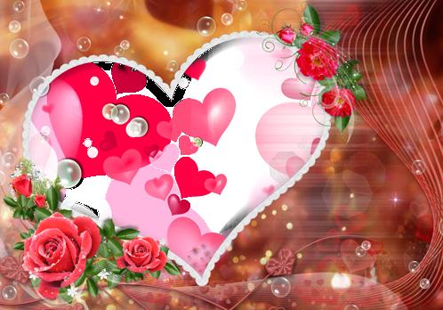 Marco Para Foto Los Momentos Más Felices Hermosos Corazones Y Hermosas Flores Rojas