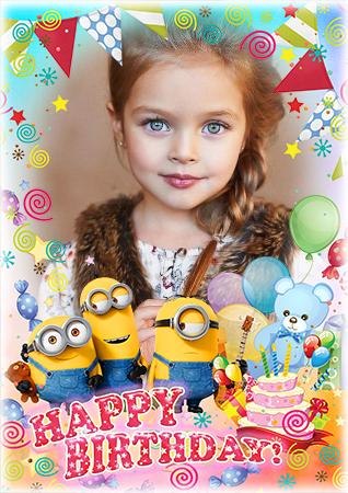 Marco Para Foto Minions Feliz Cumpleaños