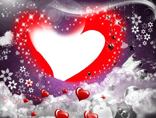 Marco Para Foto Nuestro Gran Amor Con Un Hermoso Corazón Rojo Romántico