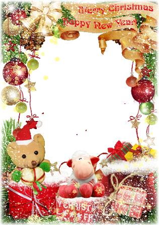 Marco Para Foto Oso Con Feliz Navidad - Marco Para Foto Oso Con Feliz Navidad