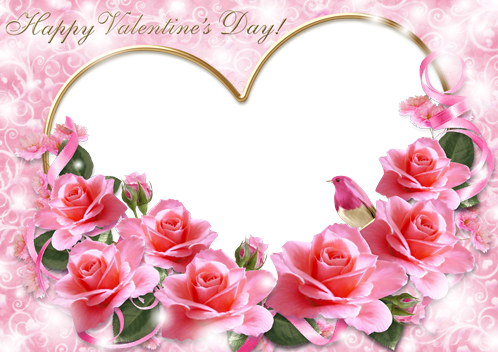 Marco Para Foto Una Imagen De Una Rosa Rosa Y Tarjetas Rojas Para El Día De San Valentín
