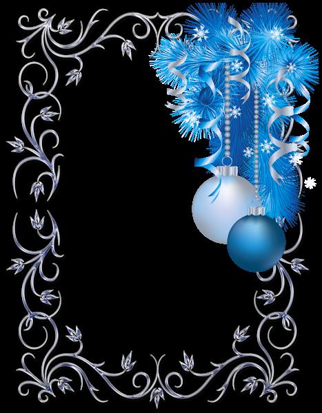 Gran marco de fotos de Navidad azul y blanco - Gran marco de fotos de Navidad azul y blanco