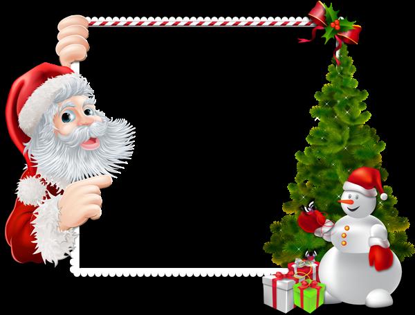 Gran marco navideño con Santa y muñeco de nieve - Gran marco navideño con Santa y muñeco de nieve