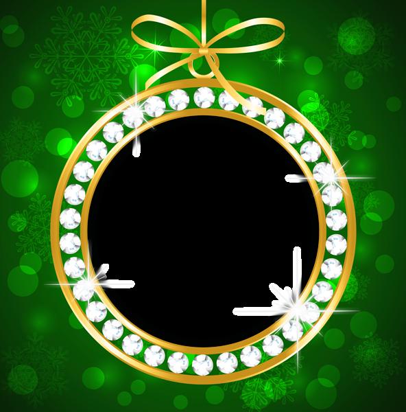 Marco de Navidad verde y dorado - Marco de Navidad verde y dorado