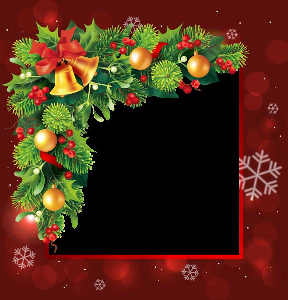 Marco de borde rojo de Navidad 2 - Marco de borde rojo de Navidad 2