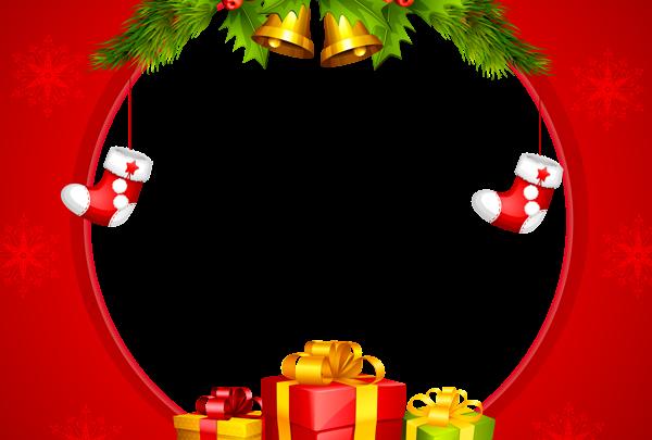 Marco de borde rojo de Navidad 600x405 - Marco de borde rojo de Navidad