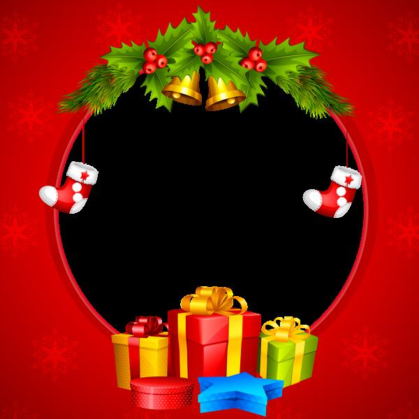 Marco de borde rojo de Navidad