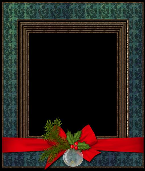 Marco de fotos de Navidad azul con bola de Navidad - Marco de fotos de Navidad azul con bola de Navidad