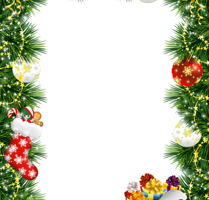 Marco de fotos de Navidad con adornos navideños 424x405 - Marco de fotos de Navidad con adornos navideños