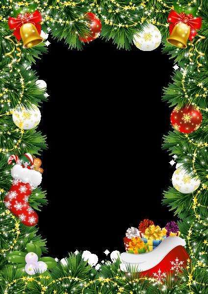 Marco de fotos de Navidad con adornos navideños