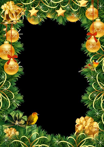 Marco de fotos de Navidad con bolas de Navidad doradas - Marco de fotos de Navidad con bolas de Navidad doradas