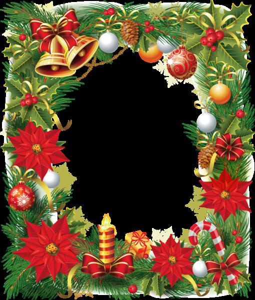 Marco de fotos de Navidad con flor de pascua - Marco de fotos de Navidad con flor de pascua