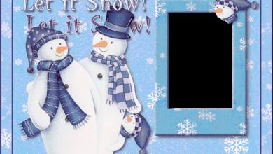 Marco de fotos de Navidad con muñecos de nieve deja que nieve 390x220 - Marco de fotos de Navidad con muñecos de nieve deja que nieve