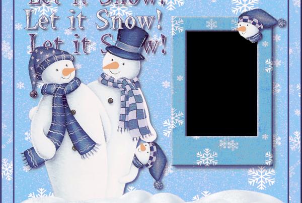 Marco de fotos de Navidad con muñecos de nieve deja que nieve 600x405 - Marco de fotos de Navidad con muñecos de nieve deja que nieve