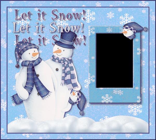 Marco de fotos de Navidad con muñecos de nieve deja que nieve