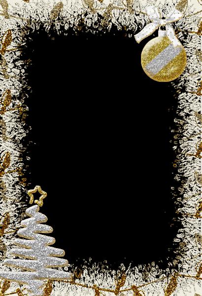 Marco de fotos de Navidad de plata brillante - Marco de fotos de Navidad de plata brillante