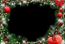 Photo of Marco de fotos de Navidad verde con adornos rojos