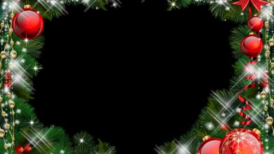 Marco de fotos de Navidad verde con adornos rojos 390x220 - Marco de fotos de Navidad verde con adornos rojos