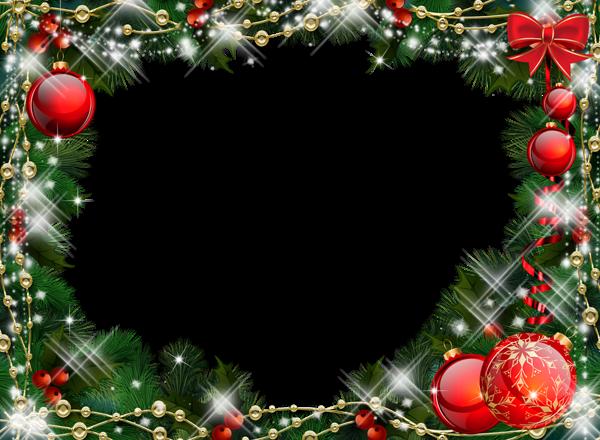 Marco de fotos de Navidad verde con adornos rojos - Marco de fotos de Navidad verde con adornos rojos