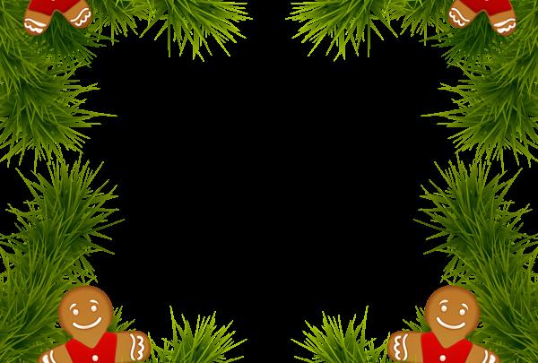 Marco de pino de Navidad con adornos de pan de jengibre Imagen de imágenes prediseñadas 600x405 - Marco de pino de Navidad con adornos de pan de jengibre Imagen de imágenes prediseñadas