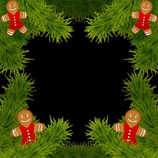 Marco de pino de Navidad con adornos de pan de jengibre Imagen de imágenes prediseñadas - Marco de pino de Navidad con adornos de pan de jengibre Imagen de imágenes prediseñadas