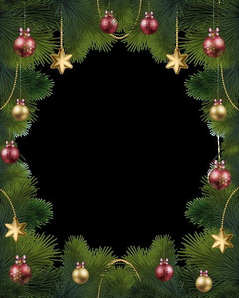 Marco de pino navideño con adornos 2 - Marco de pino navideño con adornos 2