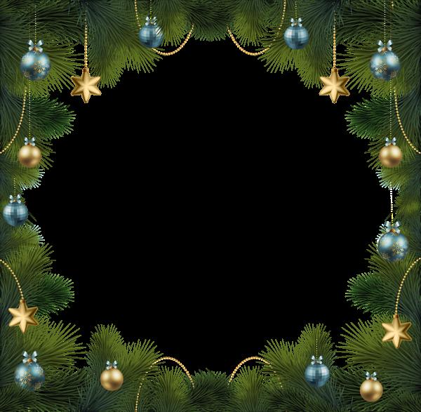 Marco de pino navideño con adornos - Marco de pino navideño con adornos