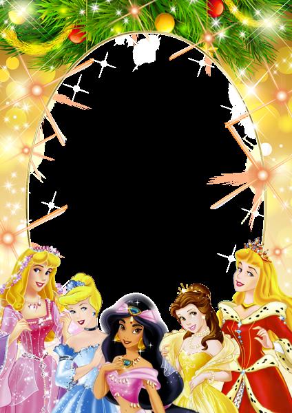 Marco infantil con princesas navideñas - Marco infantil con princesas navideñas