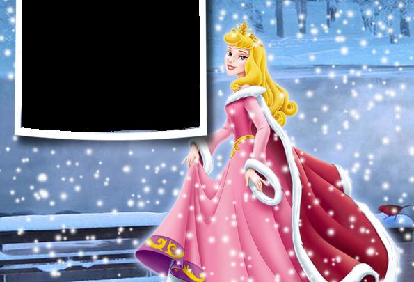 Navidad Invierno princesa aurora Marco de fotos 595x405 - Navidad Invierno princesa aurora Marco de fotos
