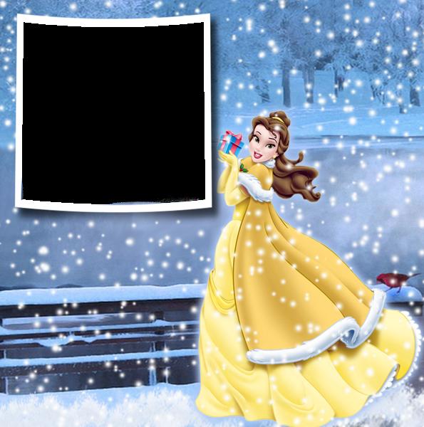 Navidad invierno princesa belle marco de fotos - Navidad invierno princesa belle marco de fotos