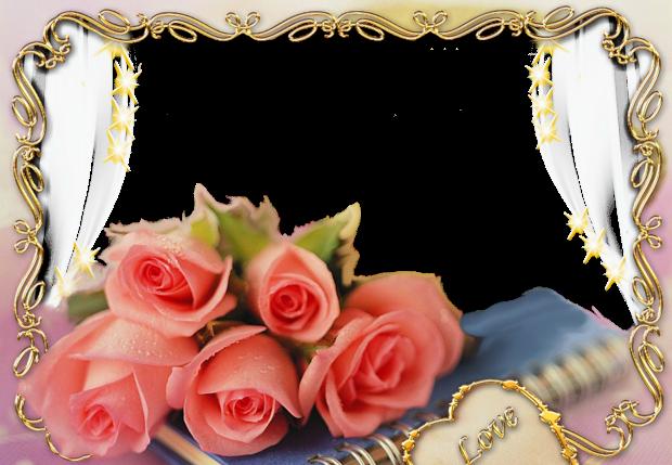 beautiful pink flowers romantic photo frame - beautiful pink flowers romantic photo frame