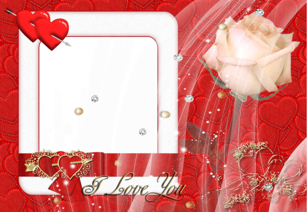 beauty red card romantic photo frame - beauty red card romantic photo frame