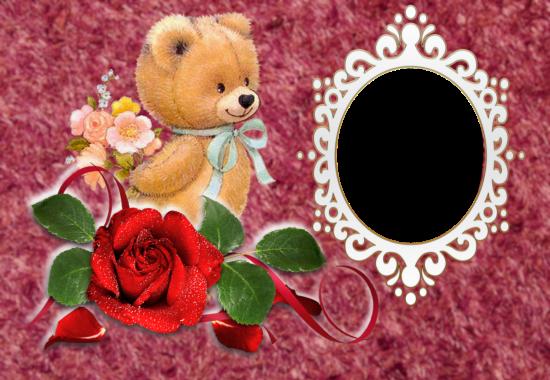 cute small love bear love photo frame - cute small love bear love photo frame
