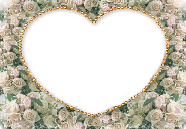 heart with white flowers romantic photo frame - heart with white flowers romantic photo frame