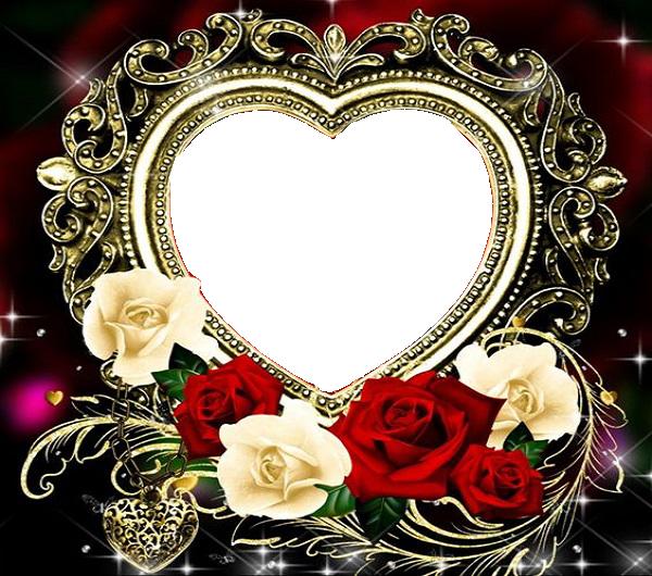 marco de corazón de oro - Marco de corazón de oro